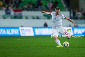 Mihaly Korhut of Hungary shots the ball during the Hungary and Azerbaijan European Qualifier match at Groupama stadium on Oct 13, 2019 in Budapest, Hungary.