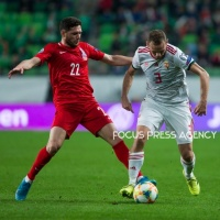 Mihaly Korhut of Hungary competes for the ball with Javid Hüseynov of Azerbaijan during the Hungary and Azerbaijan European Qualifier match at Groupama stadium on Oct 13, 2019 in Budapest, Hungary.
