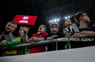 Young fans during the Hungary and Azerbaijan European Qualifier match at Groupama stadium on Oct 13, 2019 in Budapest, Hungary.