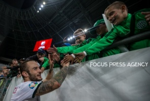 Gergo Lovrencsics of Hungary thanks for the support after the Hungary and Azerbaijan European Qualifier match at Groupama stadium on Oct 13, 2019 in Budapest, Hungary.